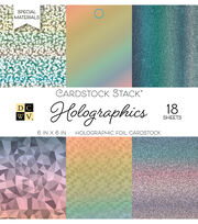 DCWV 18 Pack 6''x6'' Foil Cardstock Stack-Holographics, , hi-res