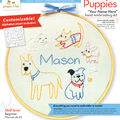 Penguin & Fish 8\u0027\u0027 Round Customizable Hand Embroidery Kit-Puppies