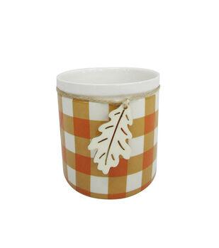 Blooming Autumn Medium Stoneware Container-Orange & White Checks