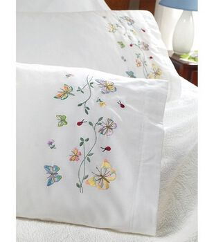 Bucilla Pillowcase Pair Stamped Embroidered Butterflies In Flight