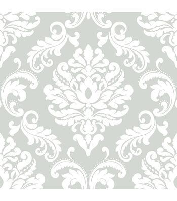 WallPops NuWallpaper Grey  Ariel Damask Peel  & Stick Wallpaper