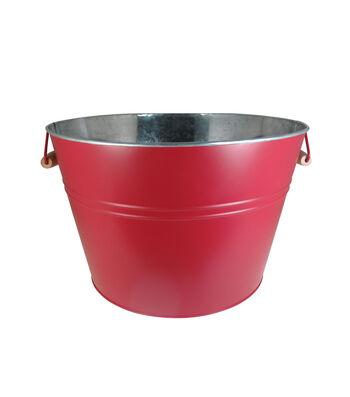 Americana Patriotic Galvanized Ice Bucket with Wood Handle-Red