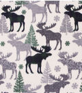 Anti-Pill Plush Fleece Fabric-Aspens & Navy & Green Patterned Trap Moose