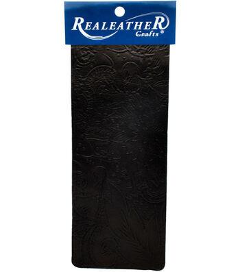 Realeather Crafts 9''x3'' Goat Leather Trim-Black Floral