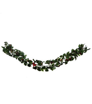 Handmade Holiday Christmas Holly Leaf & Red Berry Garland