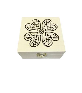 St. Patrick's Day Craft 2 pk Wood Boxes-Celtic Shamrock