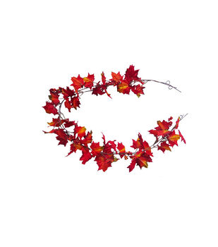 Blooming Autumn Mini Maple Leaf Garland-Red