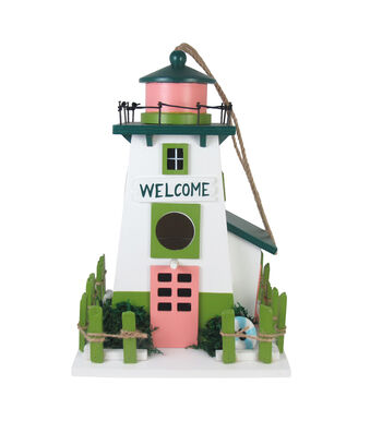 Hello Spring Gardening Wood Lighthouse Birdhouse-Welcome