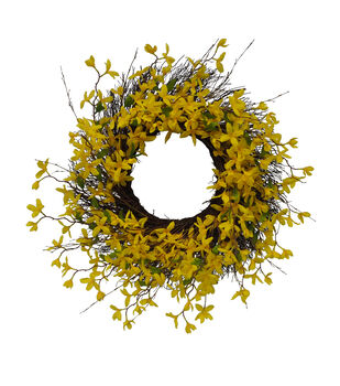 d451c939a Fresh Picked Spring 29'' Forsythia & Vine Wreath