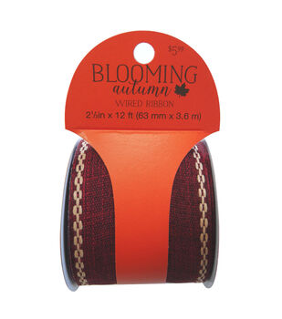 Blooming Autumn Wired Ribbon with Stitched Edge 2.5''x12'-Burgundy