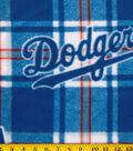 Los Angeles Dodgers Fleece Fabric -Plaid