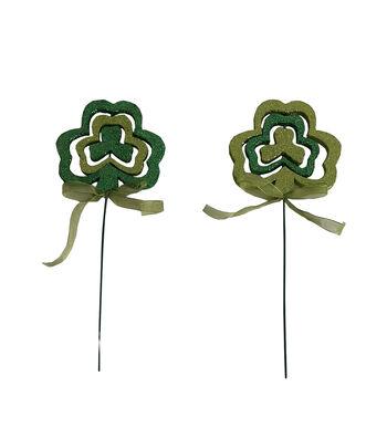 St. Patrick's Day Decor 2 pk 9'' Shamrock Picks