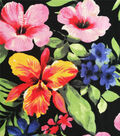 Cotton Shirting Fabric-Multi Tropical Leaves & Hibiscuses on Black