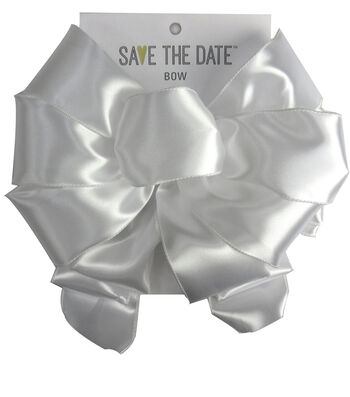 """Save the Date 2.5"""" Bow-White Satin"""