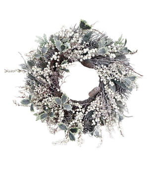 Handmade Holiday Christmas 24'' Frosted Holly, Berry & Pinecone Wreath