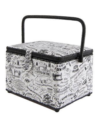 Singer Sewing Basket-Black & White Sewing