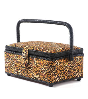 Small Rectangle Sewing Basket-Leopard Print