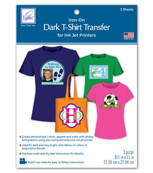 fec5507ed Dark T-Shirt Transfer Paper For Ink Jet Printers 3/Pkg
