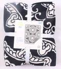 No Sew Fleece Throw 72\u0022-Black White Medallion