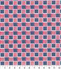 Patriotic Cotton Fabric-Flag Square Bright