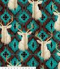 Anti-Pill Fleece Fabric -Stag Head On Turq Aztec