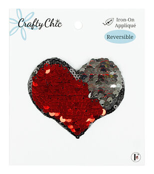 Crafty Chic 3''x2.5'' Reversible Sequin Heart Iron-on Applique
