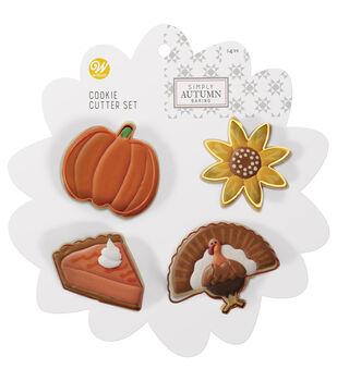 Wilton Simply Autumn 4pc Cookie Cutter Set-Sunflower Pumpkin Turkey