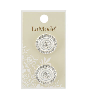 La Mode 2 pk 22 mm Silver Shank Buttons with Clear Rhinestones