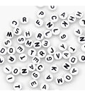 Alphabet Beads 7mm 150/Pkg-White Round