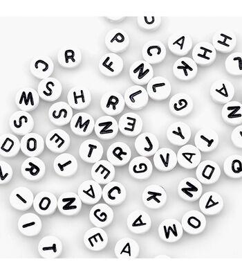 Alphabet Beads 7mm 150/Pkg-White Round