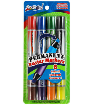 """Permanent Poster Markers Double-Ended 1/2"""" Chisel Tip 4/Pkg-Classic, 8 Colors"""