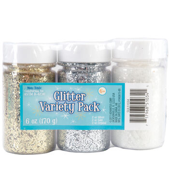 Glitter Variety Pack 2oz 3/Pkg-Gold, Silver & Crystal