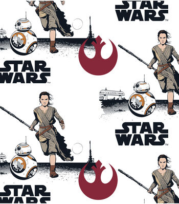 """Star Wars: The Force Awakens Flannel Fabric 42""""-Rey & BB8"""
