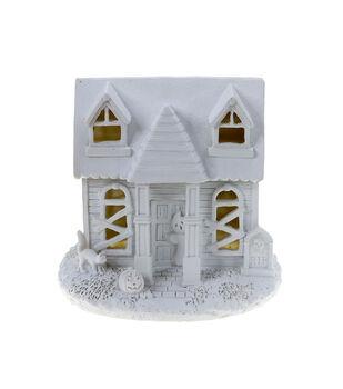 Maker's Halloween Craft 7''x6.5'' LED Ceramic Haunted House