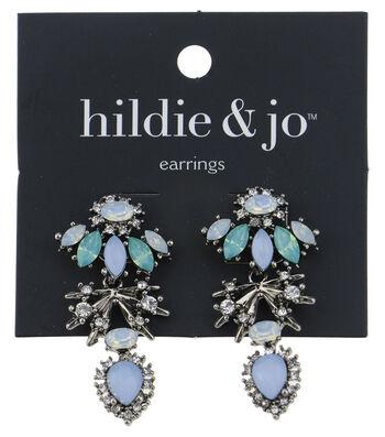 hildie & jo Silver Earrings-Green, Blue & Clear Crystals