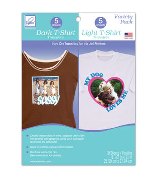 "June Tailor Variety Pack Dark T-Shirt and Light T-Shirt Transfers, 8.5"" x 11"" size"