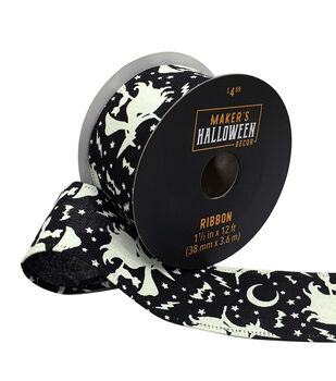 Maker's Halloween Decor Ribbon 1.5''x12'-Witches on Black