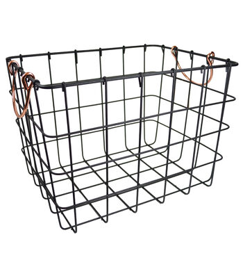Large Metal Basket with Copper Handles