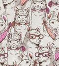 Snuggle Flannel Fabric 42\u0027\u0027-Stacked Sketched Llamas
