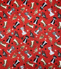 Novelty Cotton Fabric Mixed Cats on Red