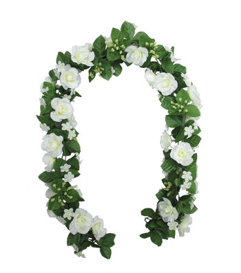 Fresh Picked Spring 66'' Rose Chain Garland-White