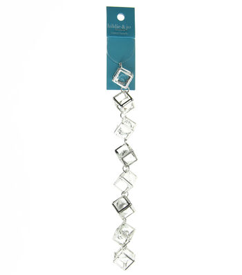hildie & jo 7'' Open Cube Silver Strand-Clear Crystal