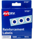 Avery White Self-Adhesive Reinforcement Labels 1000/Pkg
