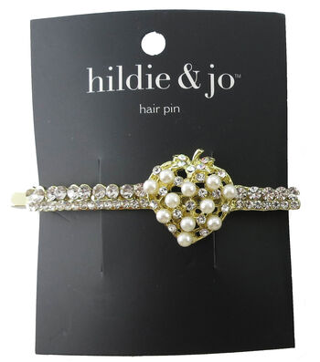 hildie & jo Gold Heart Hair Pin-Pearl & Clear Crystals