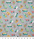 Novelty Cotton Fabric-Tossed Camping Trailers Gray