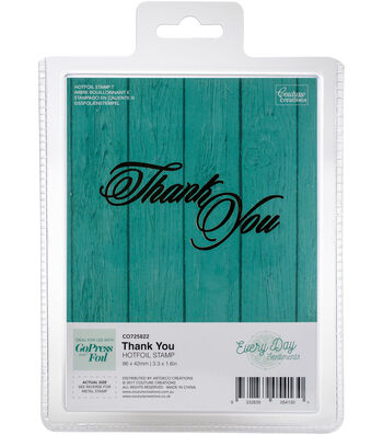 """Couture Creations Every Day Sentiments Hotfoil Stamp-Thank You 3.3""""X1.6"""""""