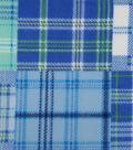 Anti-Pill Fleece Fabric 59\u0022-Blue Blocked Madras Plaid