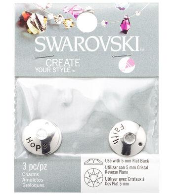 Swarovski Create Your Style Hope, Faith & Love Charms-Silver
