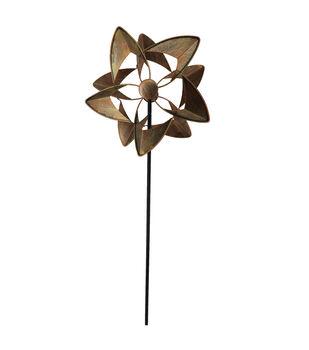 In the Garden 12''x48'' Flower Kinetic Stake-Copper