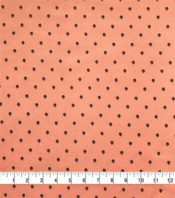 Silky Stretch Chiffon Fabric-Peach Black Spaced Mini Floral